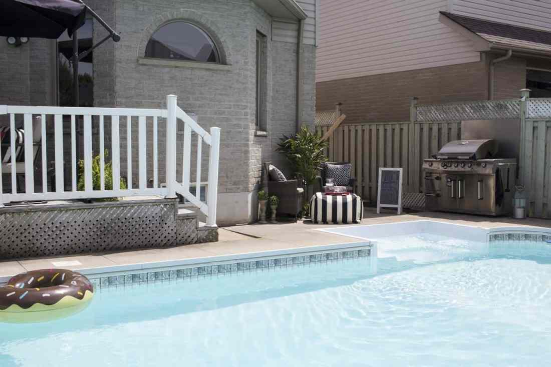 Backyard deck, pool and BBQ