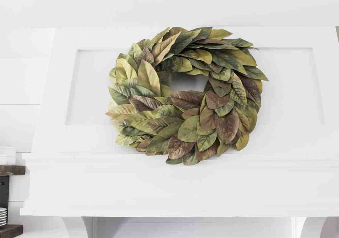 DIY magnolia wreath with painted leaves