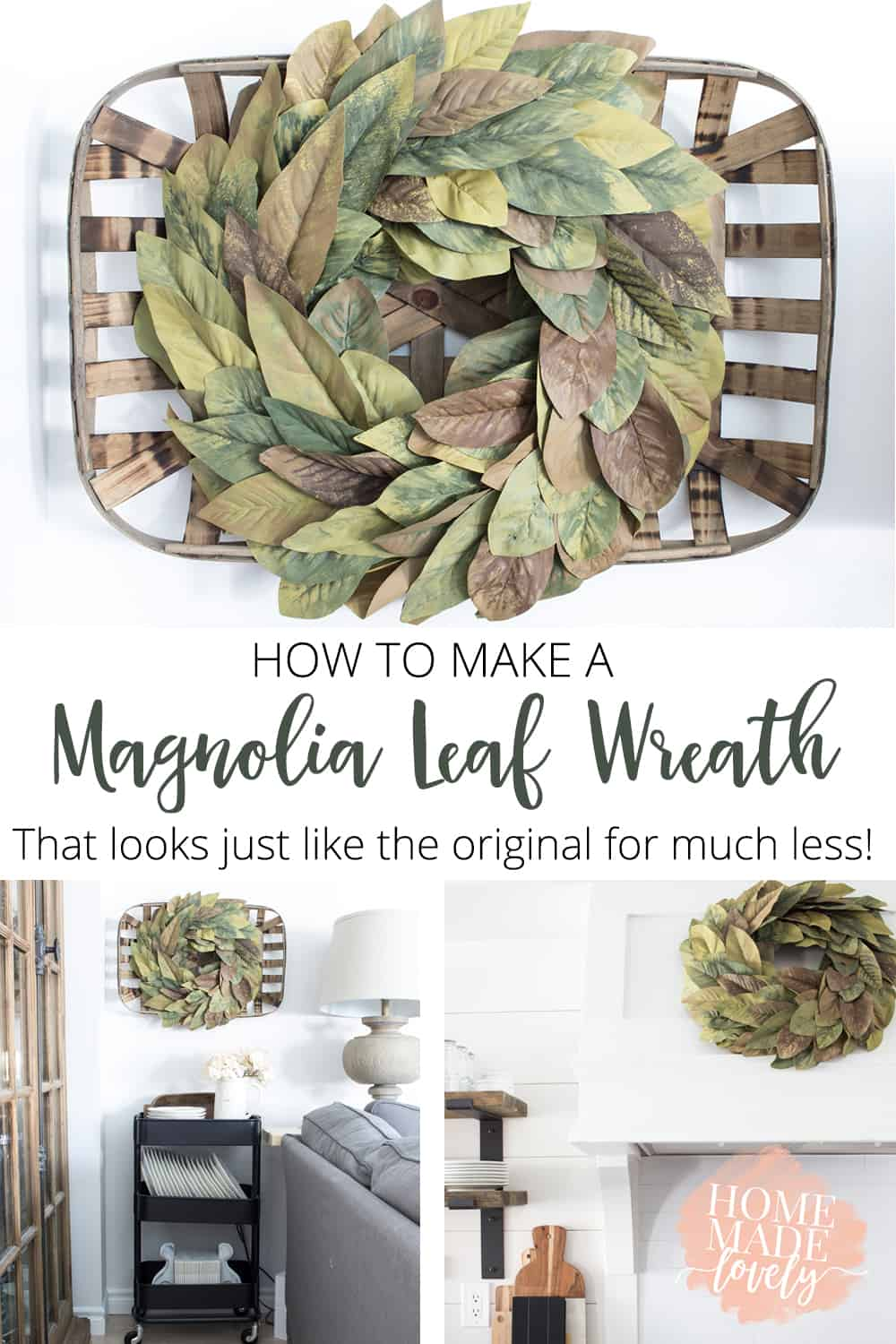 How to Make a Magnolia Leaf Wreath on the Cheap pin