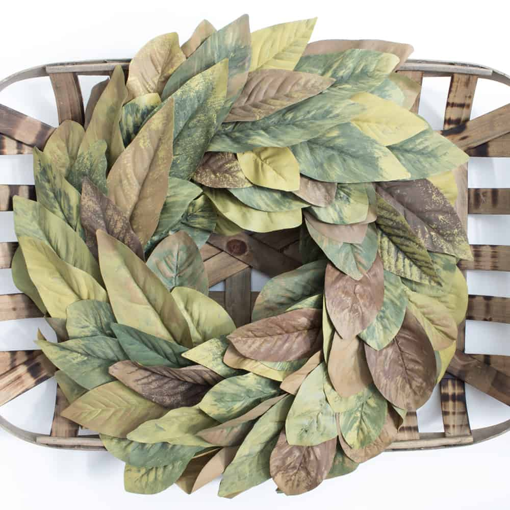 diy magnolia leaf wreath tobacco basket