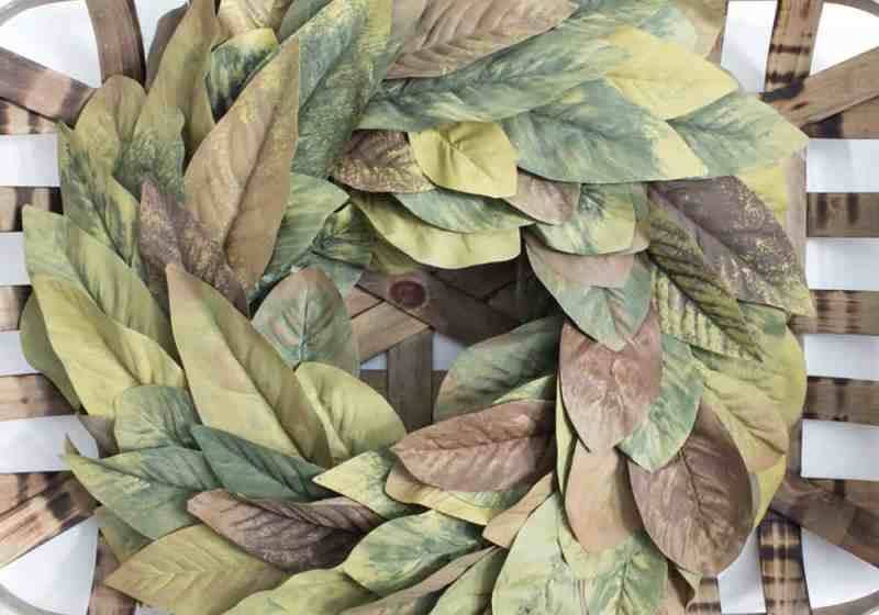 diy magnolia leaf wreath tobacco basket