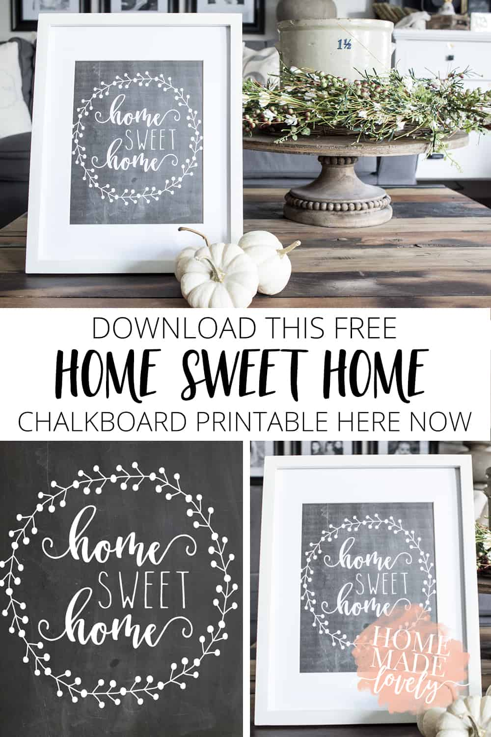 To ease into the fall season, even if it still feels like summer outside, you can download this free home sweet home chalkboard printable here now!