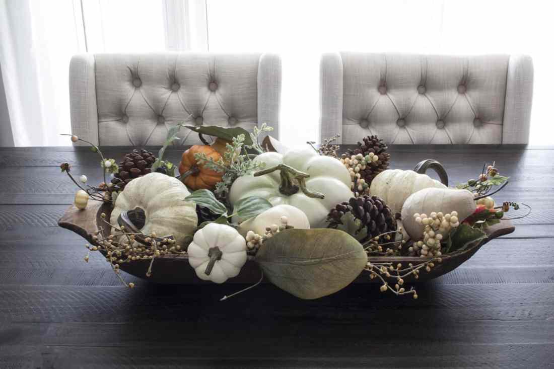 fall centerpiece farmhouse dough bowl