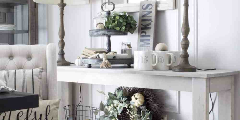fall farmhouse decor on dining room console table