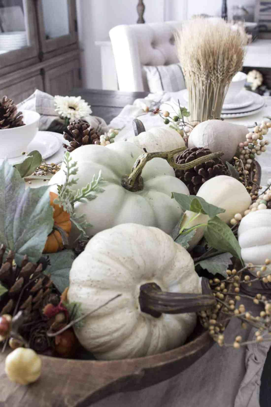 fall pumpkins in dough bowl centerpiece
