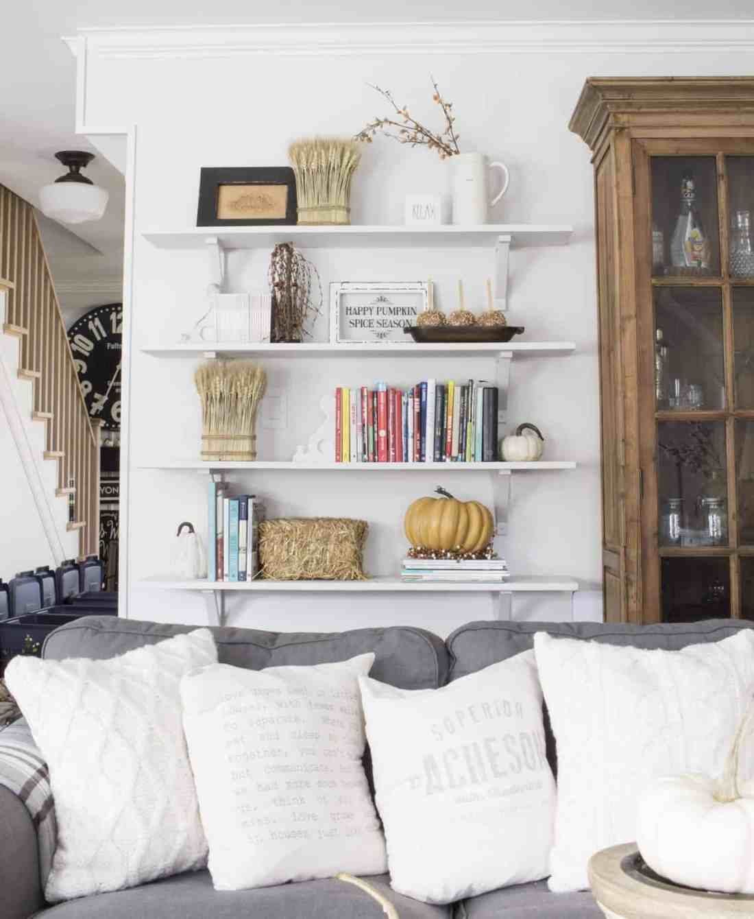 new bookshelves on wall for fall
