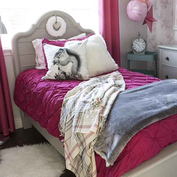 Bright Pink & Grey Girl's Room