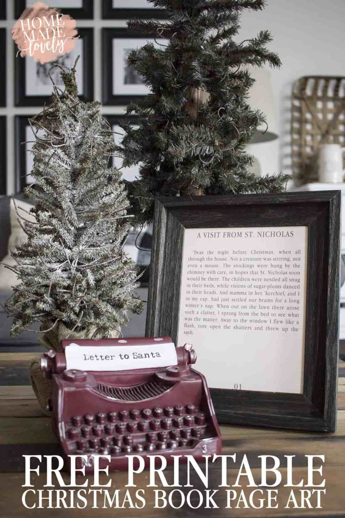 twas the night before christmas free book page art pin