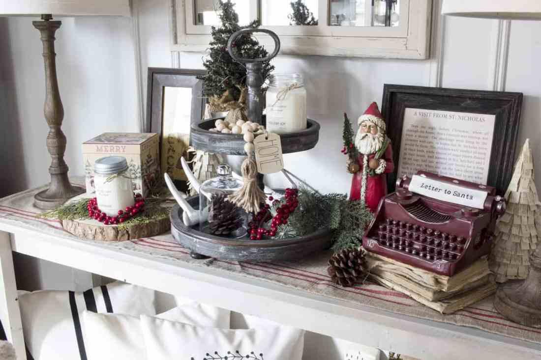 Christmas decor on sideboard farmhouse style