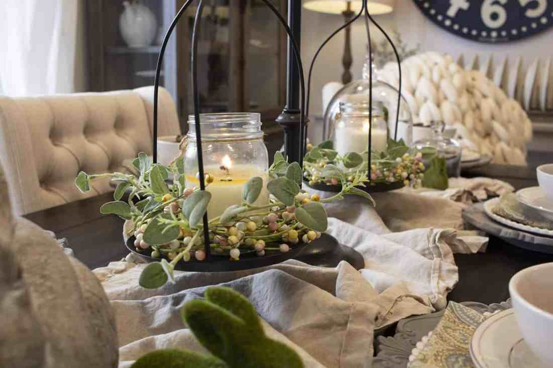 candles on spring centerpiece