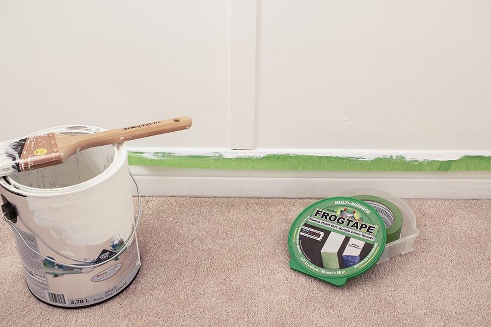 frogtape protecting baseboard