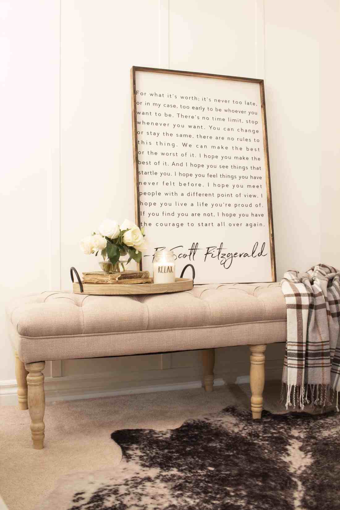 HomePop tufted bench in guest room