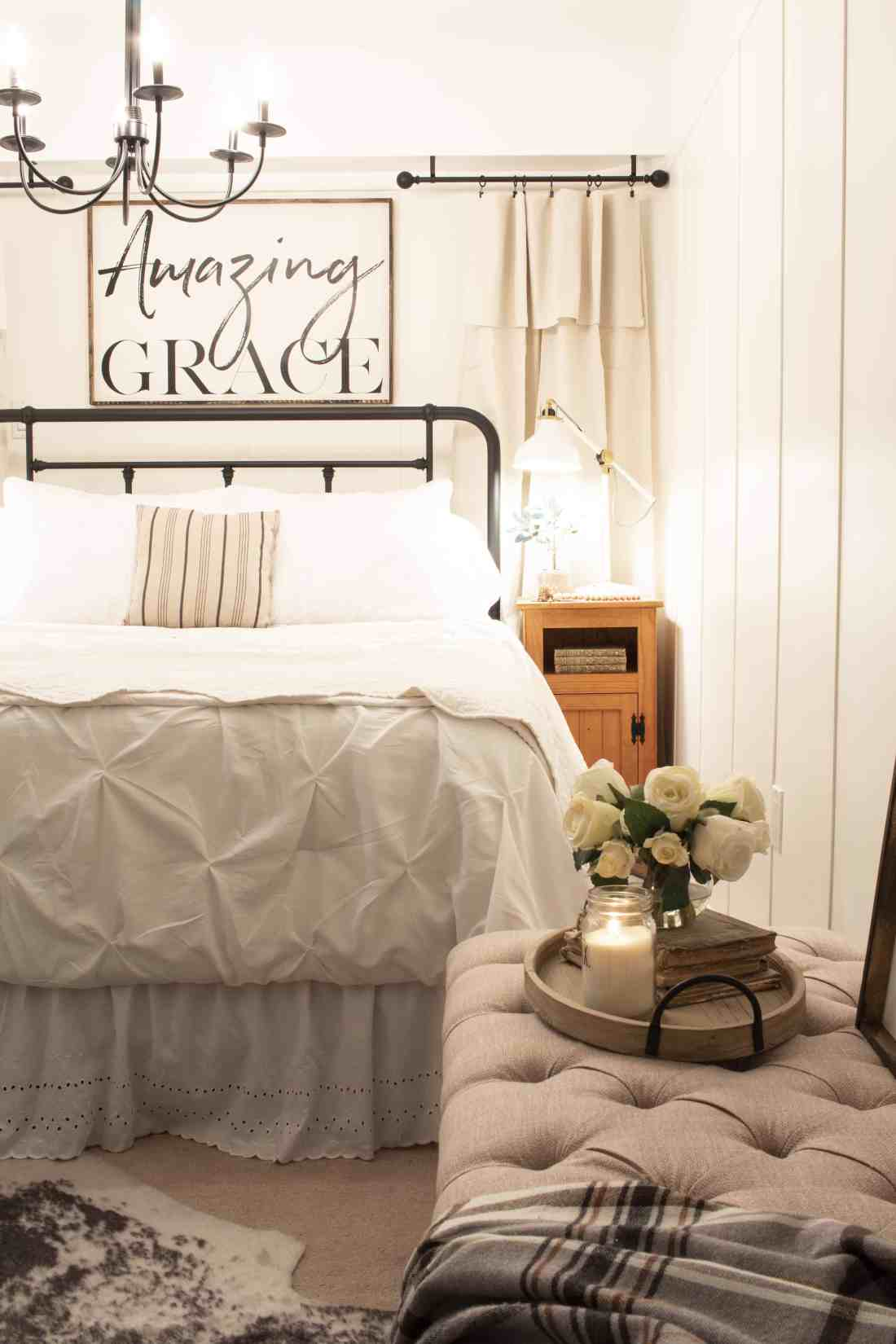 iron headboard tufted bench guest bed