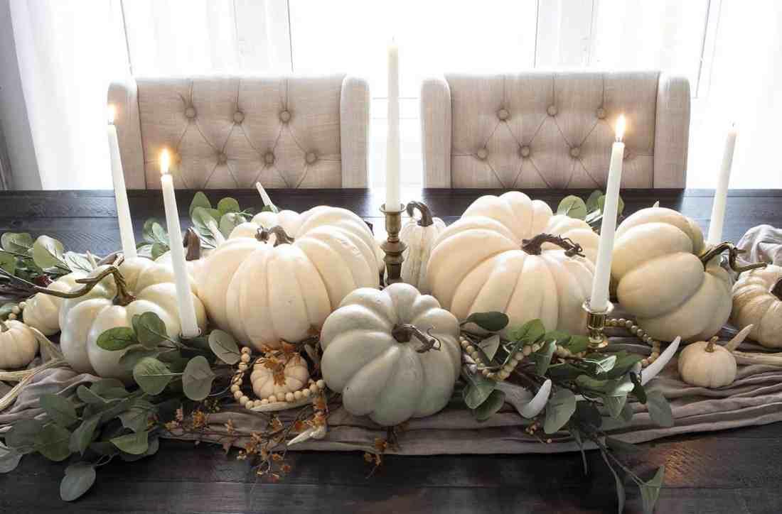 neutral faux pumpkins