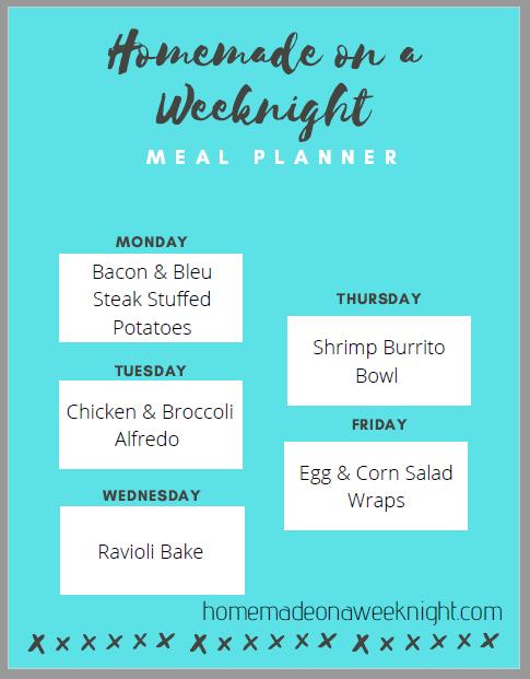 Homemade on a Weeknight Meal Planner Week 1