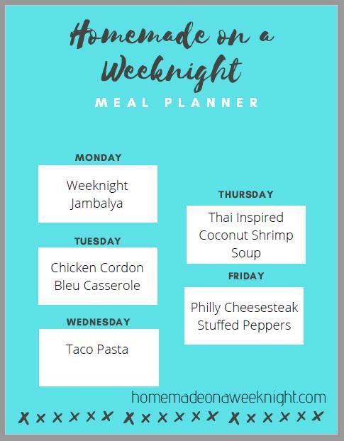 Homemade on a Weeknight Meal Planner Week 3