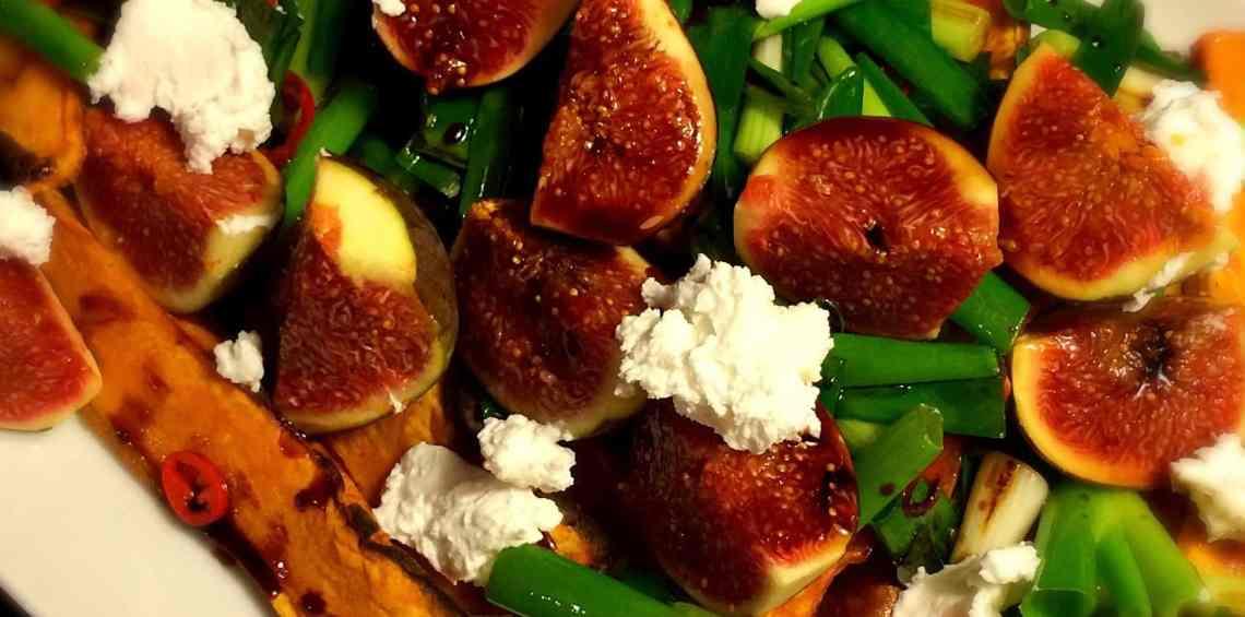 Süßkartoffeln mit Feigen und Ziegenkäse