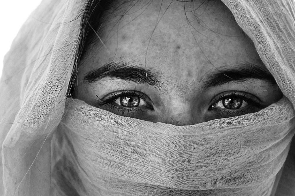 beautiful, woman, headscarf
