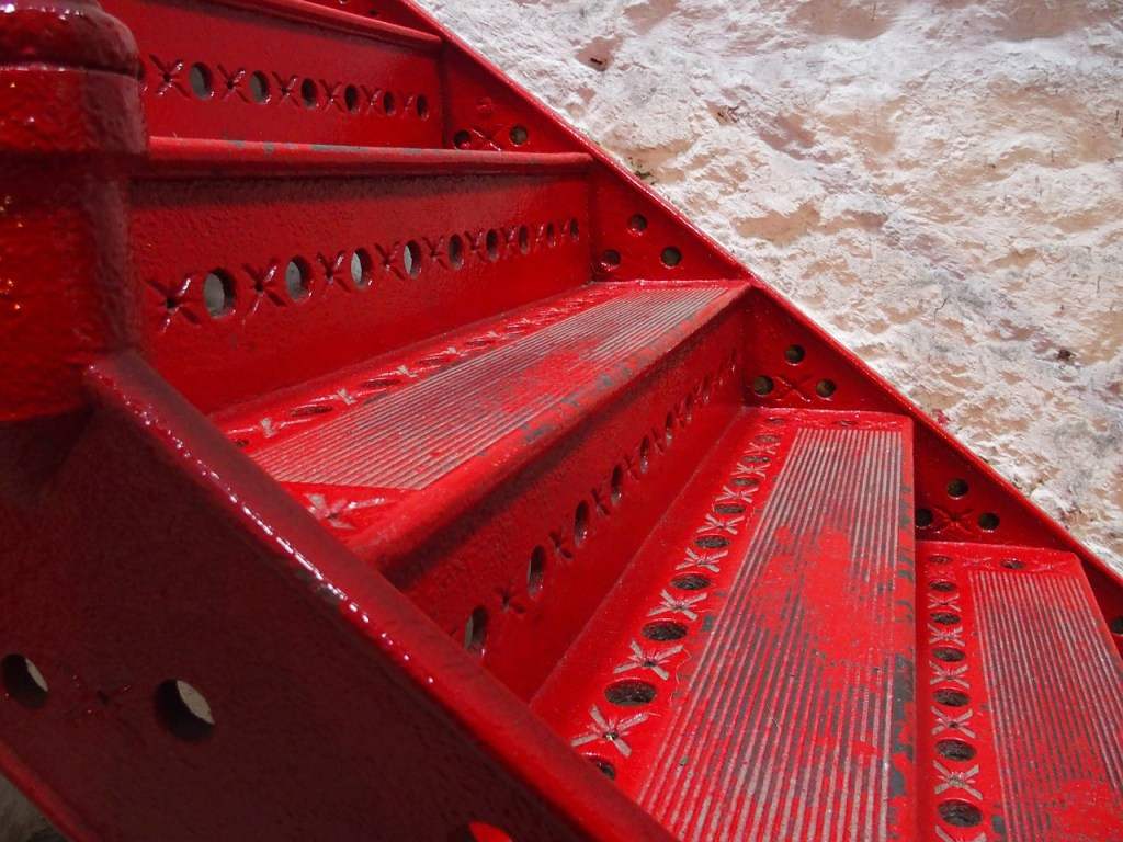 red, staircase, gradually