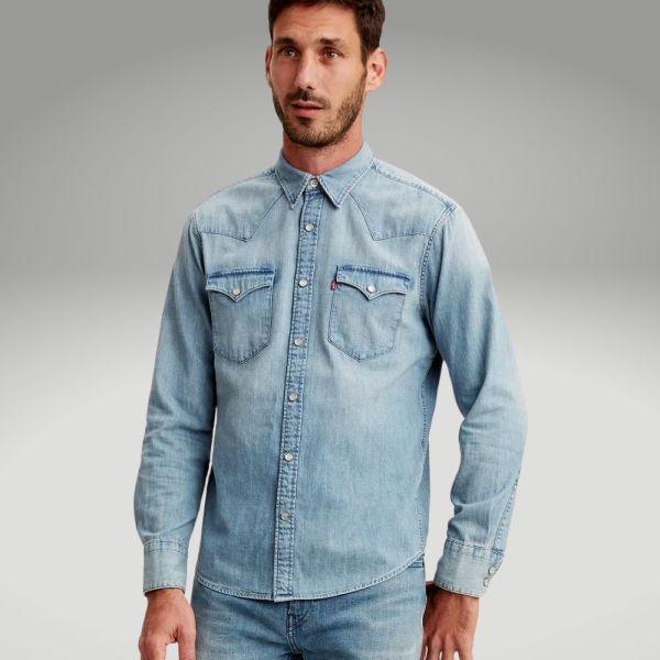Peças básicas do guarda-roupa masculino - camisa jeans - Único