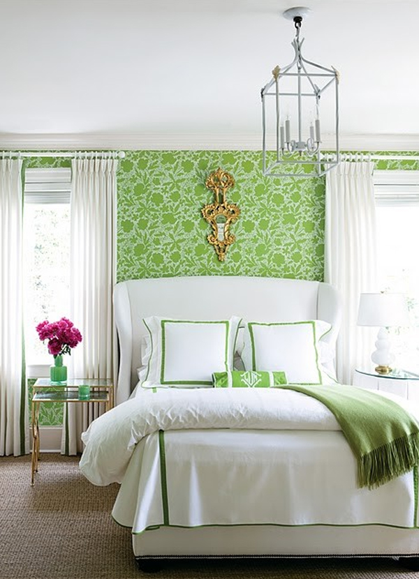 Green Floral Bedroom With Wallpaper Theme