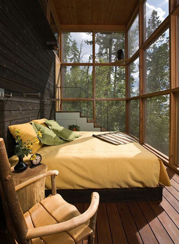 Wood Bedroom With View Of Nature
