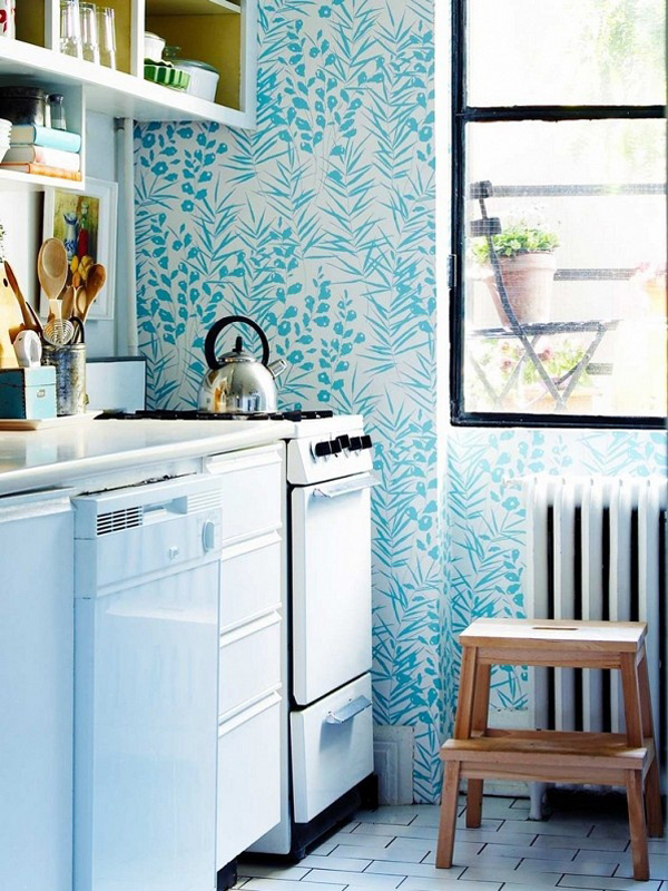 17 Inspire Wallpaper In The Kitchen   Home Design And Interior It inspired me to find a solution in the kitchen beauty  floral wallpaper  adds an unexpected touch for the modern kitchen  or you can find more  kitchen