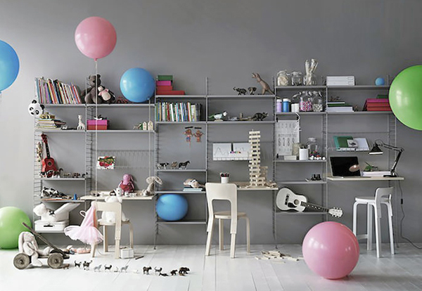 Kids Room With Wall Shelving