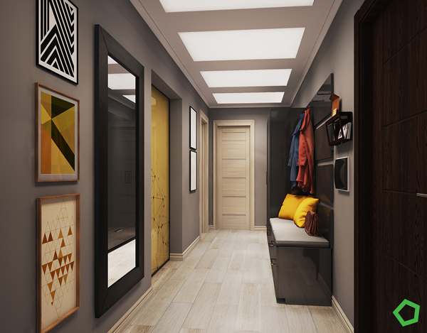 Modern Yellow Apartment Corridor