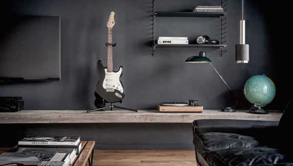 Bachelor Pad Apartment With Guitar Ideas