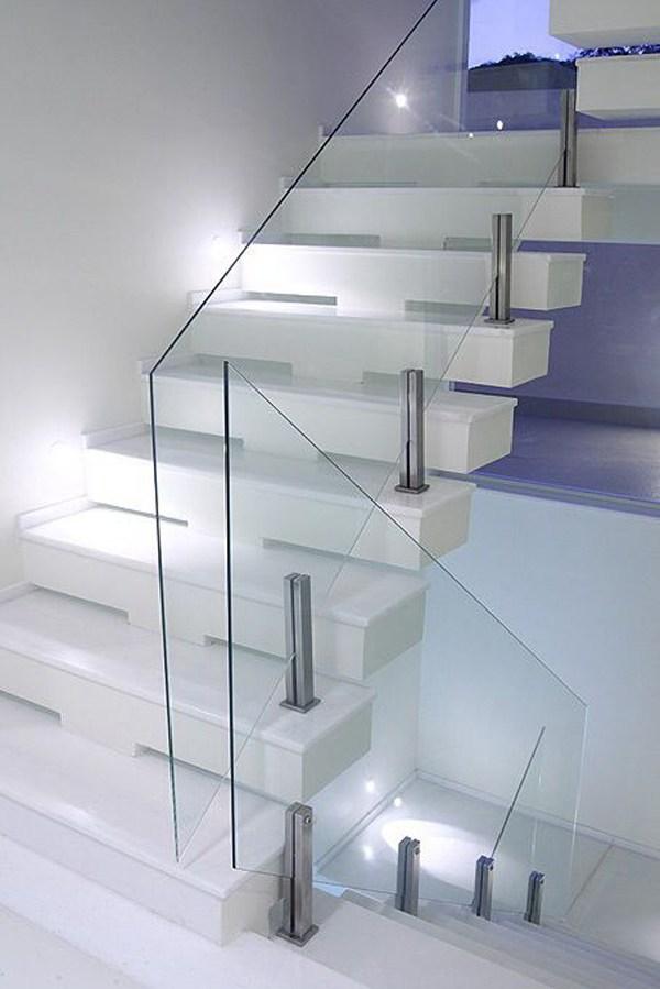 20 Modern Glass Stair Railing Ideas Homemydesign | Stair Railing Design Modern With Glass | L Shape | Interior Residential Metal | Simplistic | Grill | Button Glass