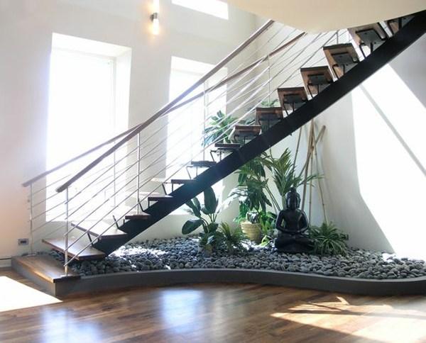 15 Beautiful Indoor Plants In Under The Stairs Homemydesign | Under Stair Garden Design | Plant | Ideas | House | Stair Case | Pebble Garden
