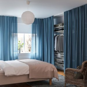 ikea open closet bedrooms with curtain