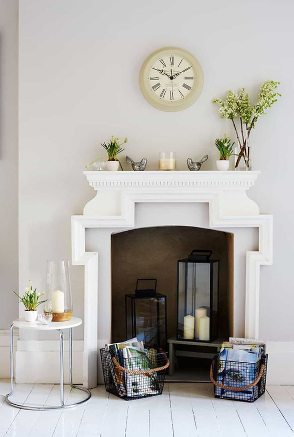 Unused Fireplace Ideas With Lanterns And Accessories Homemydesign