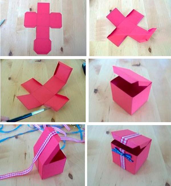 На фото показано, как сделать квадратную коробку из плотного картона