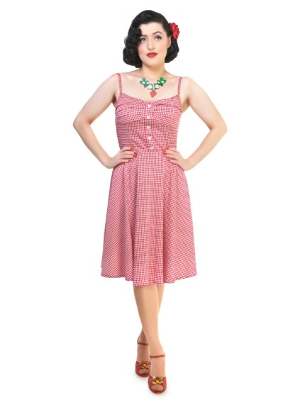 Robe collectif vichy à carreaux rouge Fairy Picnic Gingham Print Dress Pin-up 50s