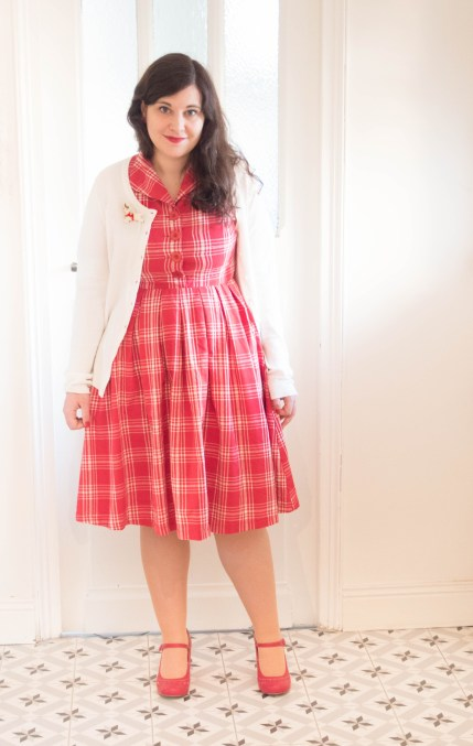 Claudine-Red-Check-Swing-Dress-lindy-bop-christmas robe