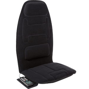 Relaxzen 10-Motor Massage Seat Cushion with Heat and Extra Foam, Black