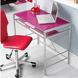 Mainstays-Stylish-Glass-top-Desk-Brings-Organization-to-Your-Work-or-Study-Area,-(Pink)