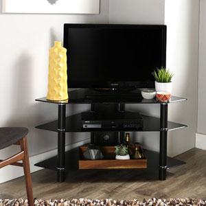 Walker-Edison-44-Glass-Corner-TV-Stand,-Black