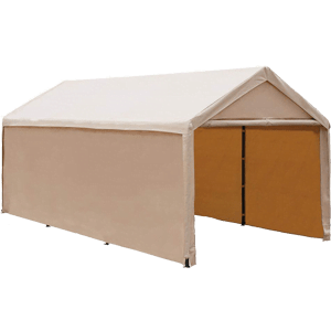 Abba-Patio-ft-Heavy-Duty-Beige-Carport-Car-Canopy-Versatile-Shelter-with-Sidewalls