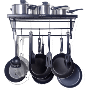 ZESPROKA-Kitchen-Wall-Pot-Pan-Rack---Black