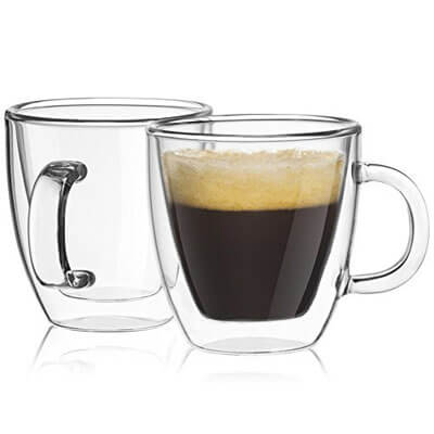 JoyJolt Savor Double Wall Insulated glasses Espresso Mugs Set