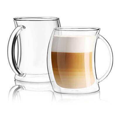 JoyJoltCaleo Collection Glass Coffee Cups