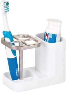 mDesign Bathroom Vanity Countertop Toothpaste and toothbrush Holder