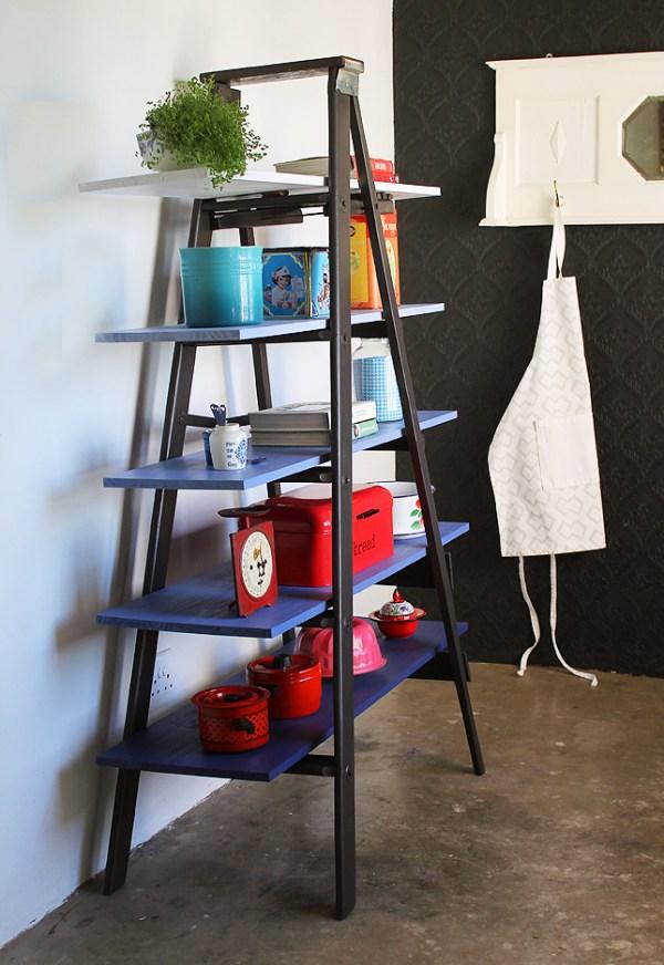 ladder shelf DIY