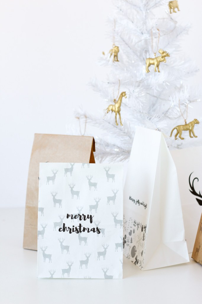 Make your own custom DIY gift bags for Christmas by printing on paper bags