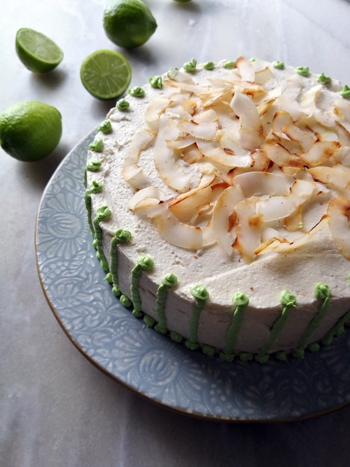 coconut and lime cake with meringue frosting
