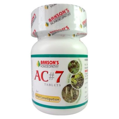 Baksons AC7 Tablets -homeopathic laxative for mild constipation, hard stools, straining, piles