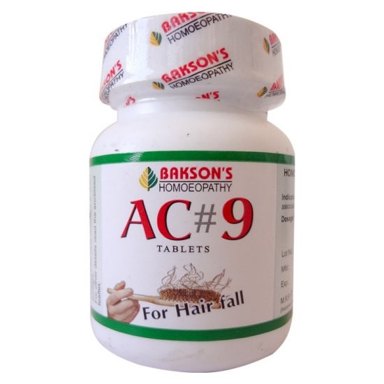 Bakson AC9 Tablets with Arnica, Jaborandi, Lycopodium for Hair Fall